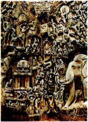 Индия. Наскальные скульптуры. Арджуна (на одной ноге), герой поэмы «Махабхарата». VII век. Огромное количество участников великой эпопеи.