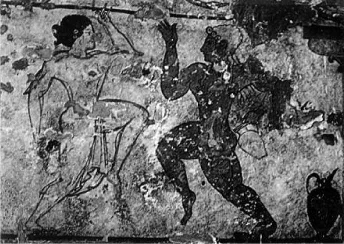 Танцоры. Роспись гробницы Львиц в Тарквинии. VI в. до н. э.