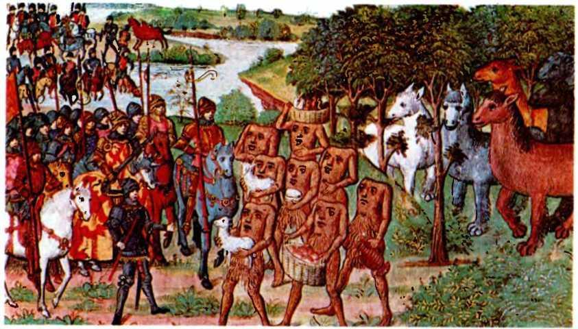 Утопии Средневековья. Александр в стране блаженства и безголовых людей. Миниатюра XV века.