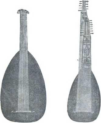 Рис. 11. Итальянская лютня. Рис. 12. Итальянская теорба (басовая лютня).
