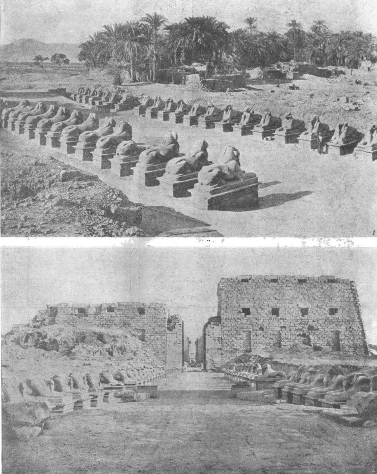 Таблица 41. Храм Амона в Карнаке. 1. Аллея сфинксов — 2. Первый пилон храма (Птолемеевское время — поздний период; высота 43,5 м.