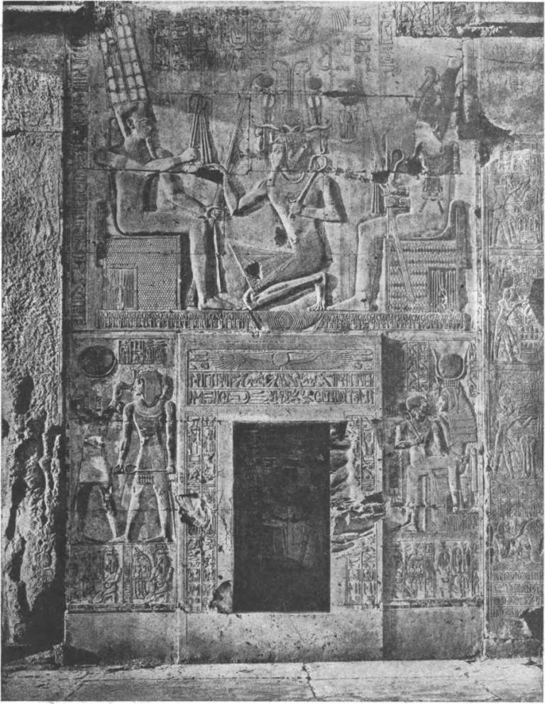 Таблица 46. Храм Сети I в Абидосе. (Новое царство, XIX династия, около 1300 г. до н. э.). Рельеф на западной стене второго гипостильного зала.