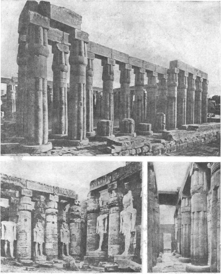 Таблица 36. Храм Амана в Луксоре. 1. Второй двор - Аменхотепа III. — 2. Интерьер задней части храма. — 3. Двор Рамзеса II.
