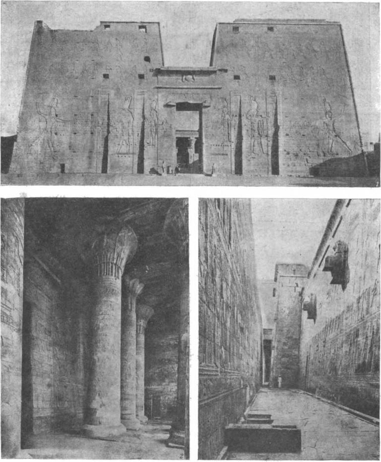 Таблица 59. Храм Гора в Эдфу. 1. Пилон. — 2. Интерьер входного зала. — 3. Коридор между храмом и внешней стеной.