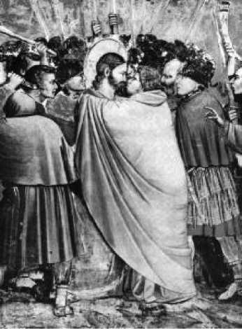 Джотто. Поцелуй Иуды. Фрагмент фрески капеллы дель Арена. Падуя. Начало XIV в.