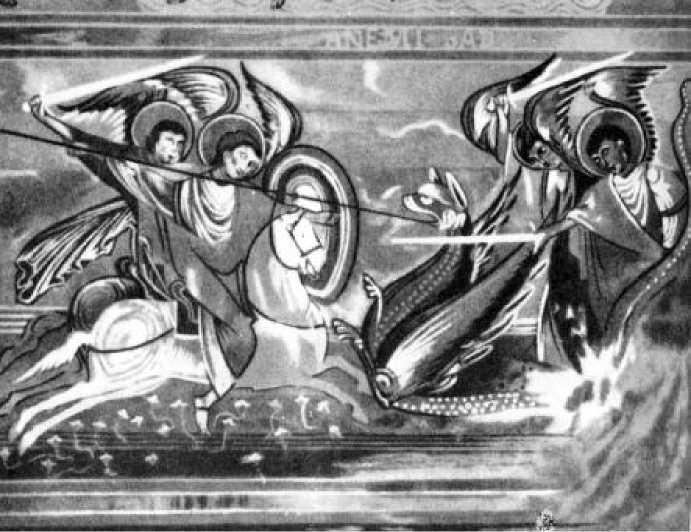 Битва архангела Михаила с драконом. Фреска церкви Сен-Савен сюр Гартан. Пуату. 1110 г.