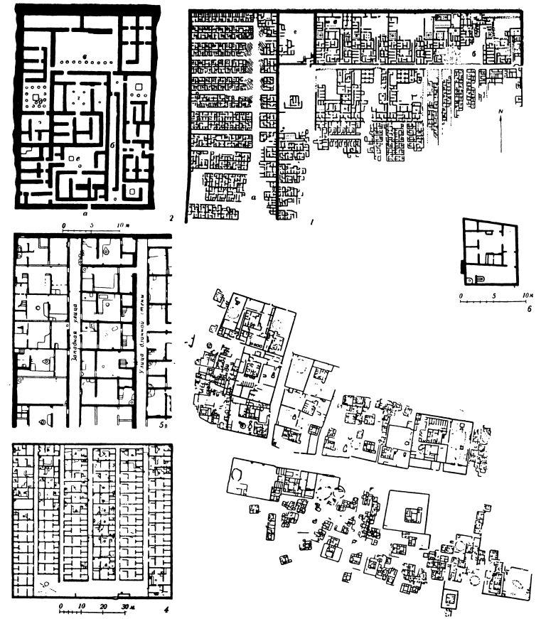 Таблица 30. Город Кахун (около пирамиды Сенусерта II в оазисе Фаюм; Среднее царство, XII династия, первые века II тысячелетия до н. э.) — 1. план раскопанной части города (а — рабочий квартал, б — участки знати, в — «дом вельможи», г — дворец); — 2 — «дом вельможи» (а — вход, б — открытый коридор, в — главный двор, г — центральная жилая комната, д — двор женской половины, е — двор кухни). Город Ахетатон (современный город Тель-эль-Амарна, Новое царство, XVIII династия, конец XV в. до н. э.): 3 — план части города; — 4 — план Восточного квартала; 5 — план части «Восточного квартала»; — 6 — план бедного жилого дома.