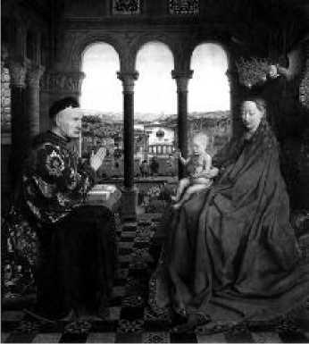 Ян ван Эйк. Мадонна канцлера Ролена 1435 г.