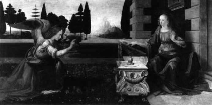 Леонардо да Винчи. Благовещение. 1470-е гг.