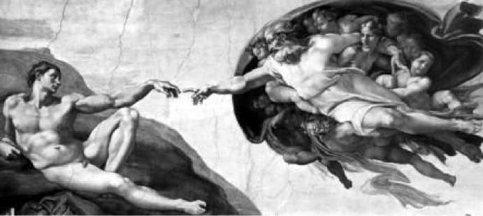 Микеланджело. Сотворение Адама. Фреска плафона Сикстинской капеллы в Ватикане. Фрагмент. 1508-1512 гг.