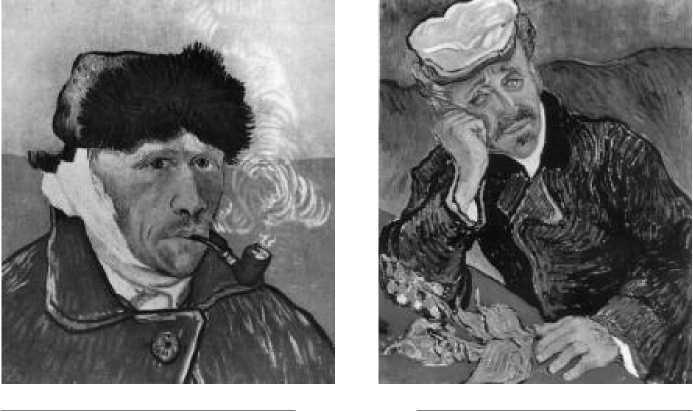 В. Ван Гог. Автопортрет с перевязанным ухом. 1889 г.  В. Ван Гог. Доктор Гаше. 1890 г.