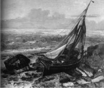 Г. Курбе. Лодка на берегу. 1863 г.