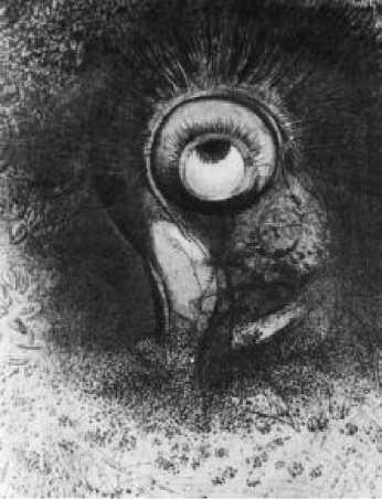 О. Редон. Возможно, первая попытка зрения осуществилась в цветке. Литография из альбома «Истоки». 1883 г.