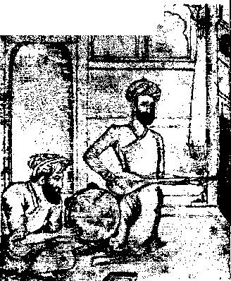 Рис. 130. Иранский рисунок тушью. Танбур и бубен.