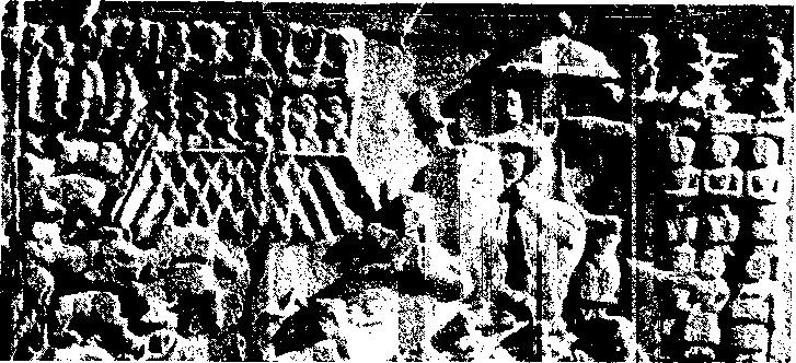 """Рис. 125. Сасанидский царь Хосров II (580—626) возвращается с охоты на оленя (рельеф в Так-п-бустане). На балконе шесть арфисток и четыре трубача играют под хлопанье в ладоши семерых """"ударниц""""."""