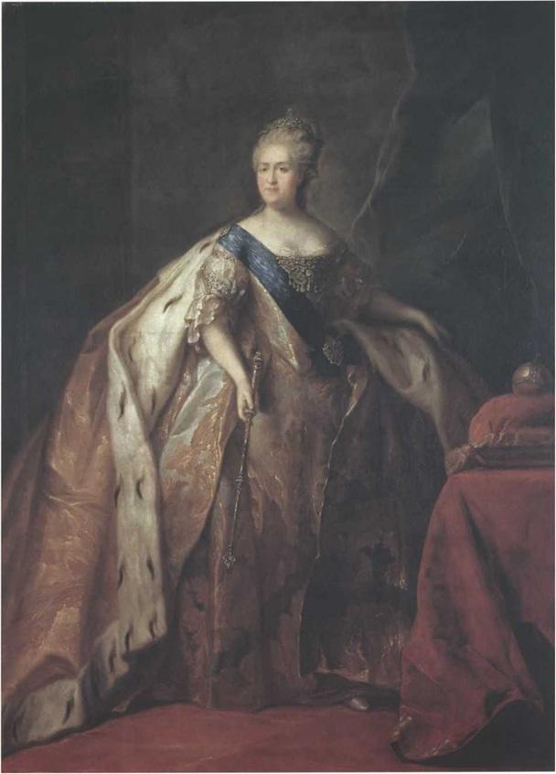 Петр Дрождин. Портрет Екатерины II. 1796 Холст, масло. 251 х 187 см. Государственная Третьяковская галерея