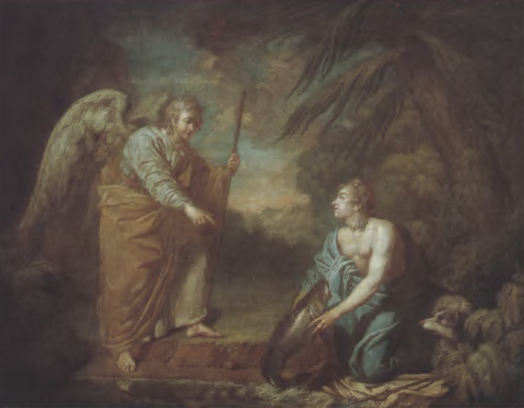 Антон Лосенко. Товий с ангелом. 1759. Холст, масло. 105 х 135 см. Государственная Третьяковская галерея
