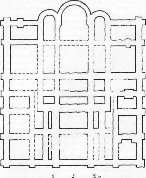 Софийский собор в Киеве. Реконструкция восточного фасада и плана первого и второго ярусов
