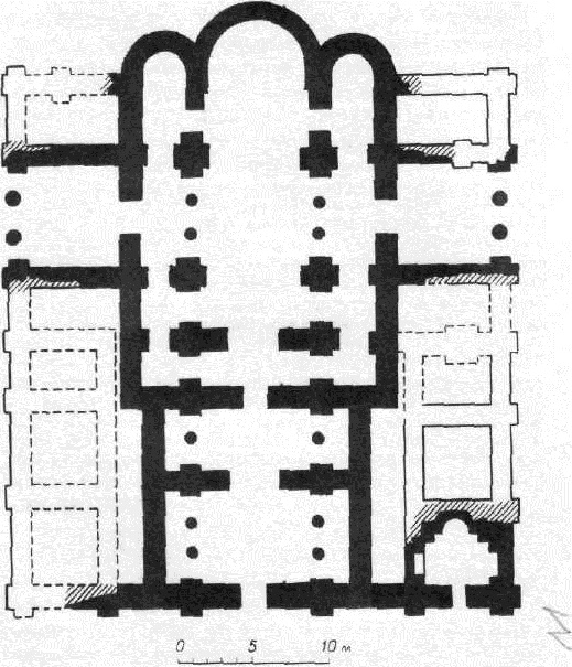 Десятинная церковь в Киеве. План раскопанных фундаментов и схема реконструкции