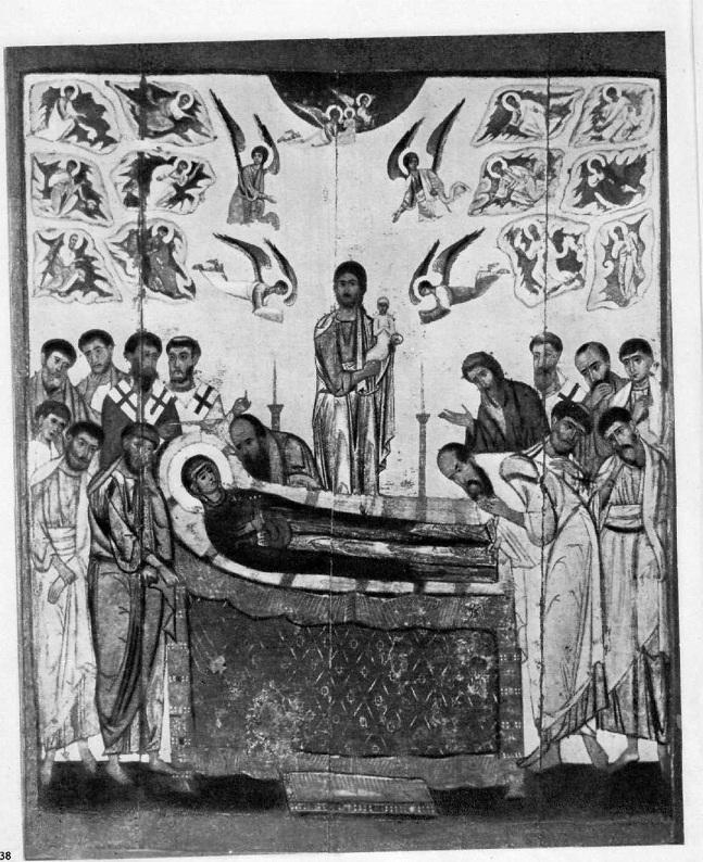 38. Успение. Икона из новгородского Десятинного монастыря. Первая половина XIII в.