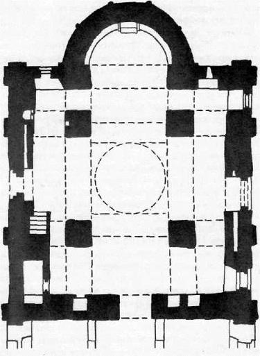 Церковь Федора Стратилата на Ручье в Новгороде. План и восточный фасад