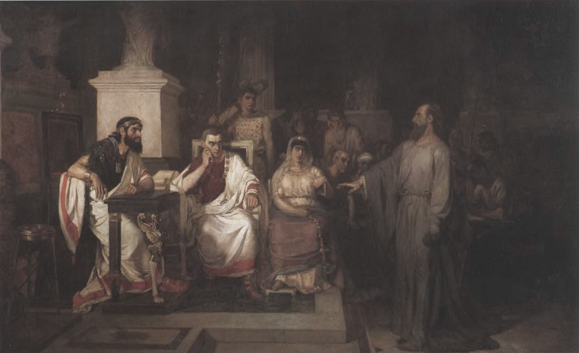 ВАСИЛИИ СУРИКОВ. Апостол Павел объясняет догматы веры в присутствии царя Агриппы, сестры его Вереники и проконсула Феста. Холст, масло 142 x218,5 см Государственная Третьяковская галерея