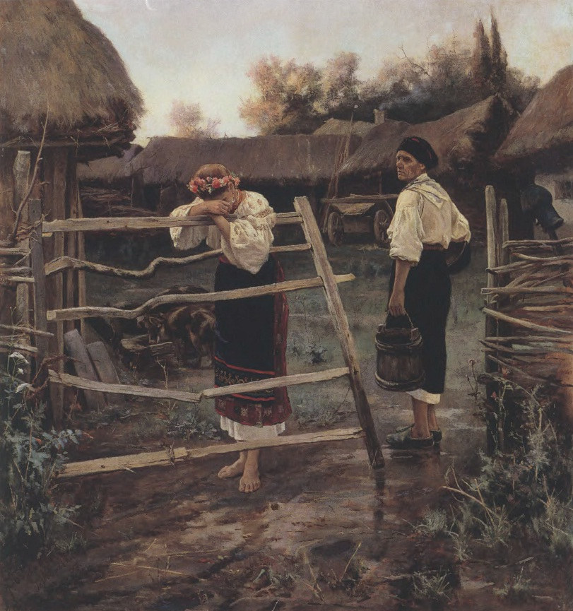 НИКОЛАЙ БОГДАНОВ. Запоздала. Холст, масло. 104 х 95 см. Челябинская областная картинная галерея