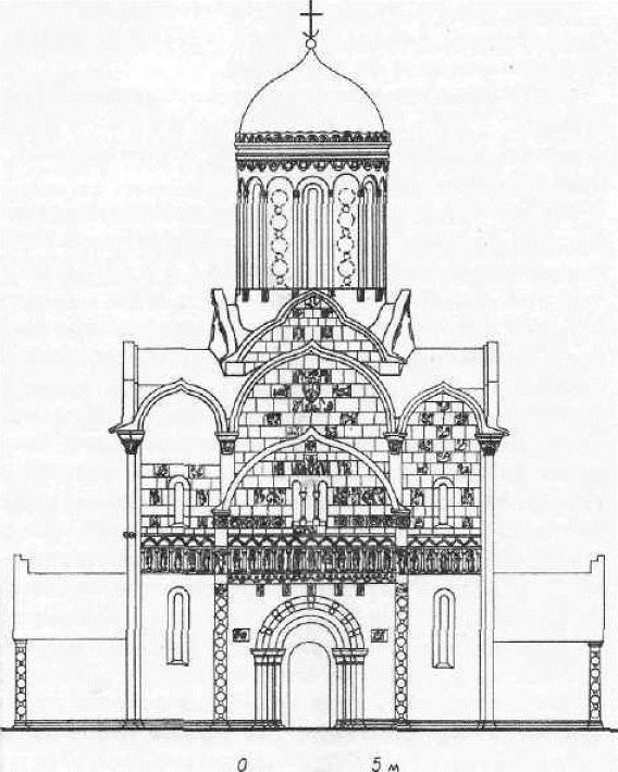 Георгиевский собор в Юрьеве Польском. Реконструкция фасада (резьба на нижней части здания не изображена)