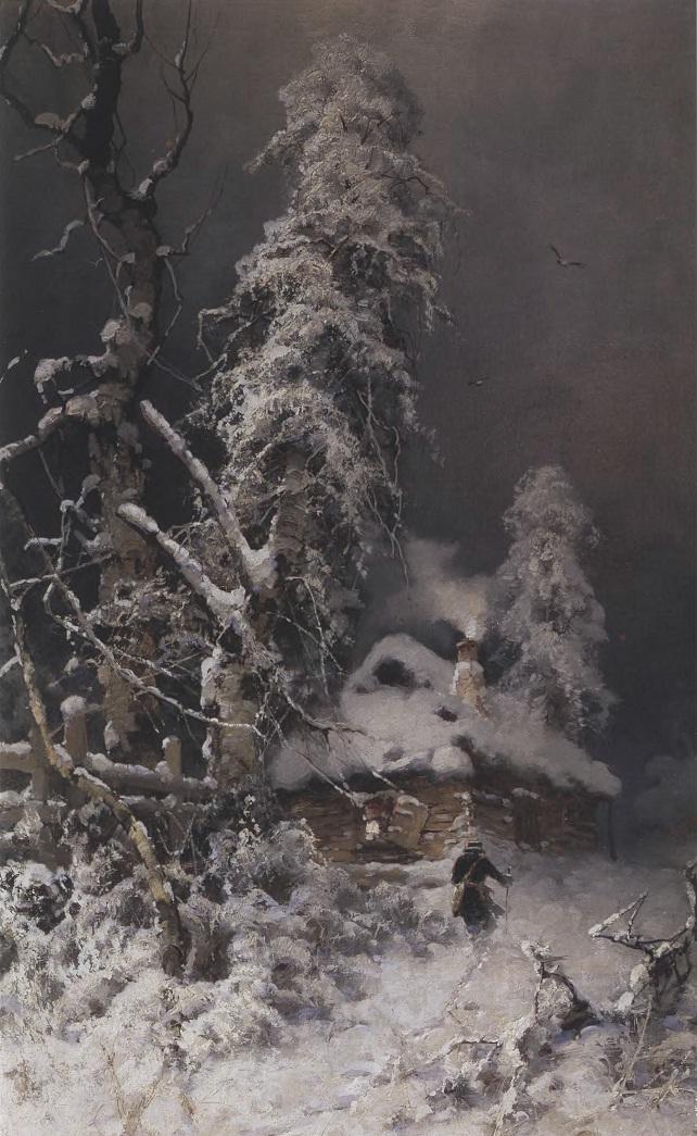 ЮЛИЙ КЛЕВЕР. Зимний пейзаж с избушкой. 1899. Холст, масло 89 х 58 см. Частное собрание