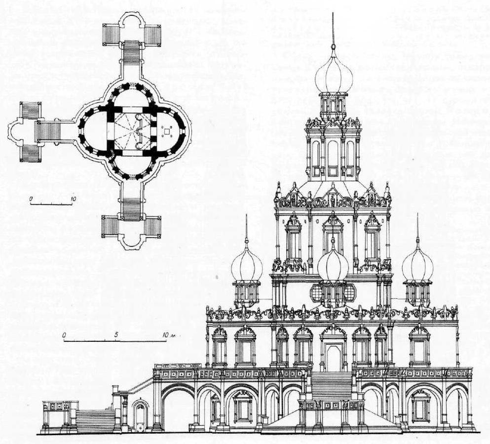 Церковь Покрова в Филях в Москве. Фасад и план