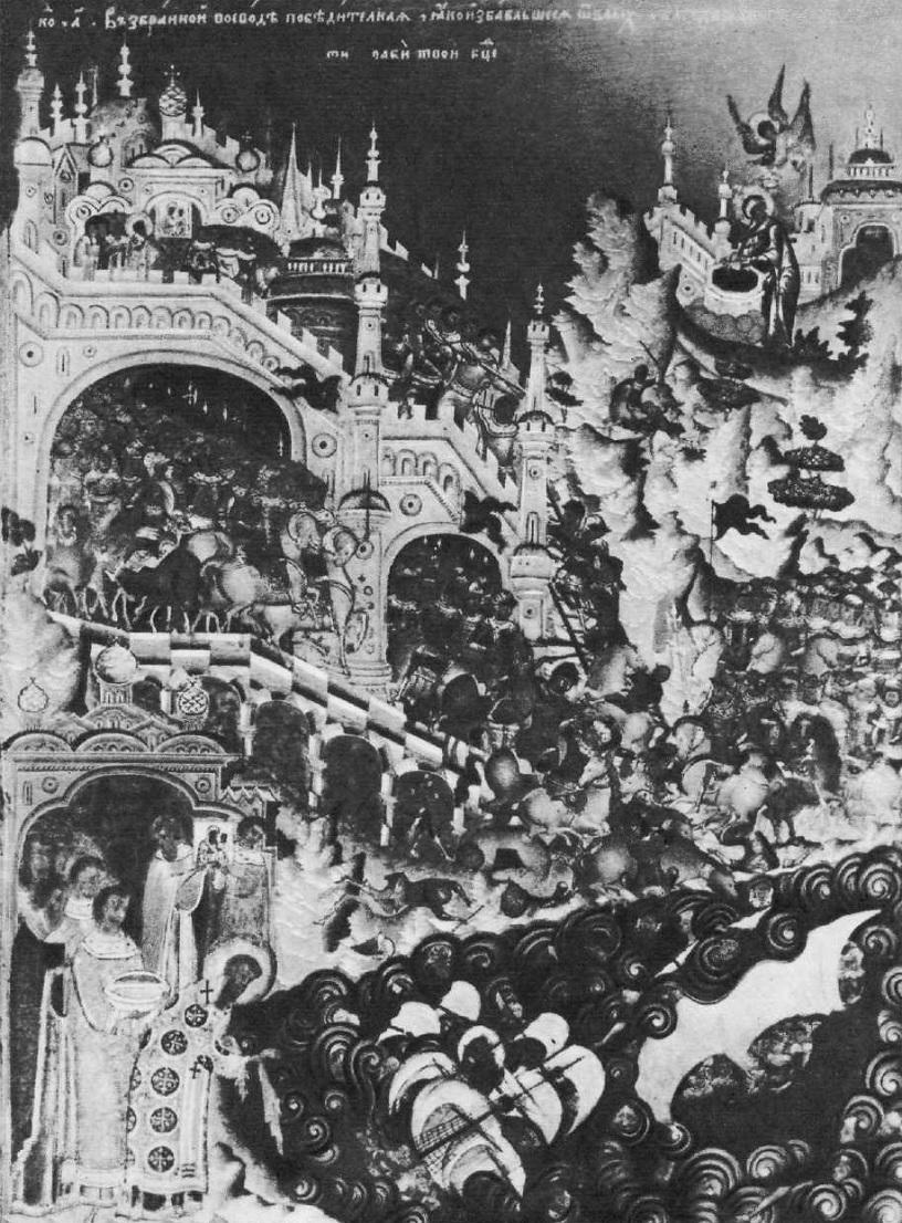 114. Симон Ушаков, Яков Казанец,  Гавриил Кондратьев. Благовещение с акафистом. Клеймо иконы. 1659