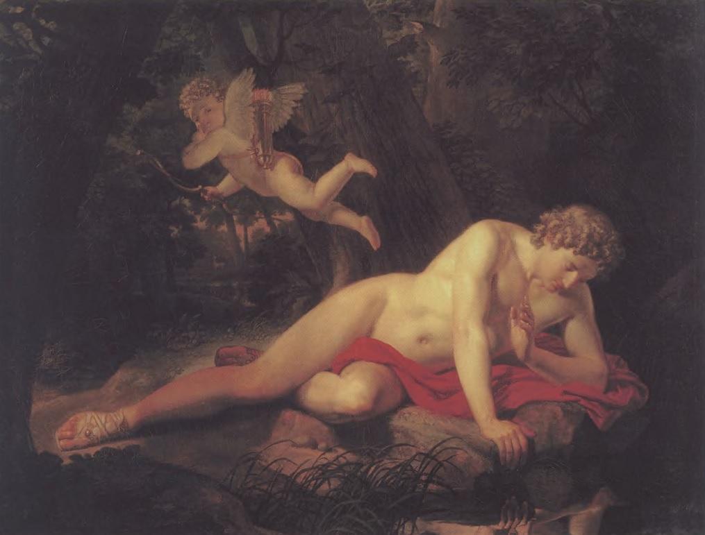 КАРЛ БРЮЛЛОВ. Нарцисс, смотрящийся в воду. 1819. Холст, масло. 162 х 209,5 см. Государственный Русский музей