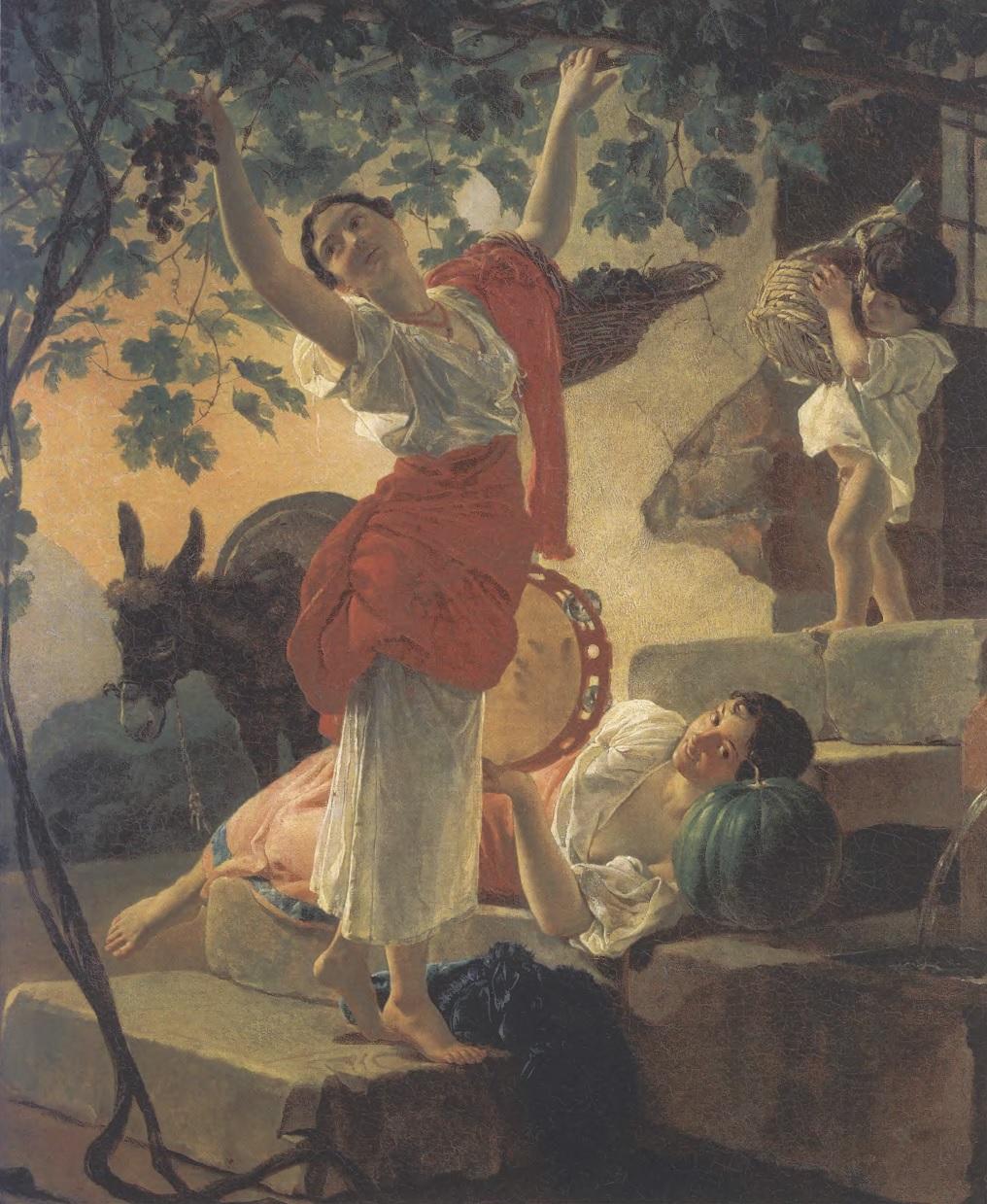 КАРЛ БРЮЛЛОВ. Девушка, собирающая виноград в окрестностях Неаполя. 1827. Холст, масло. 62 X 52,5 см. Государственный Русский музей