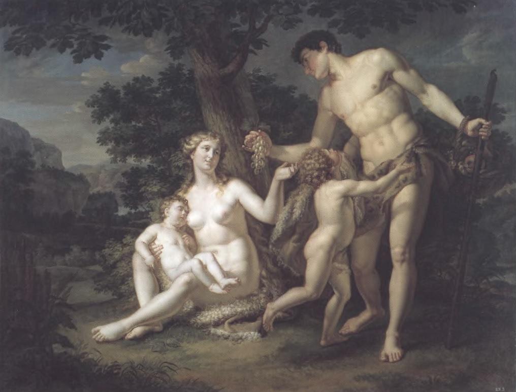 АНДРЕЙ ИВАНОВ. Адам и Ева с детьми под деревом. 1803. Холст, масло. 161 х 208 см. Государственный Русский музей
