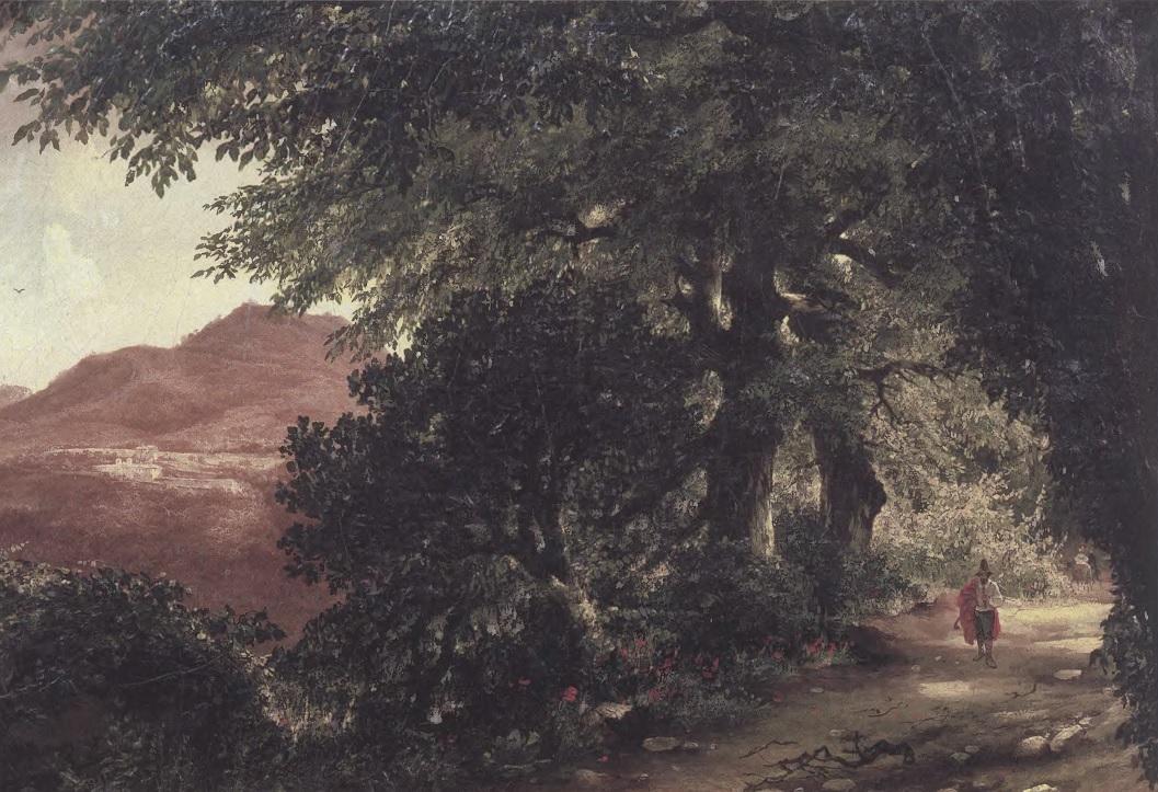 МИХАИЛ ЛЕБЕДЕВ. Аллея в Альбано близ Рима. 1836. Холст, масло. 38 х 42,6 см. Государственная Третьяковская галерея