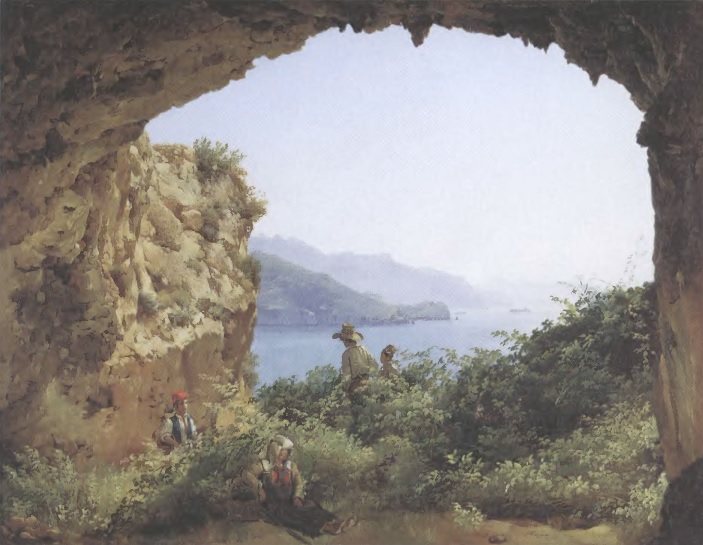 СИЛЬВЕСТР ЩЕДРИН. Грот Матроманио на острове Капри. 1827 Холст, масло. 35,5 х 46,2 см. Государственная Третьяковская галерея