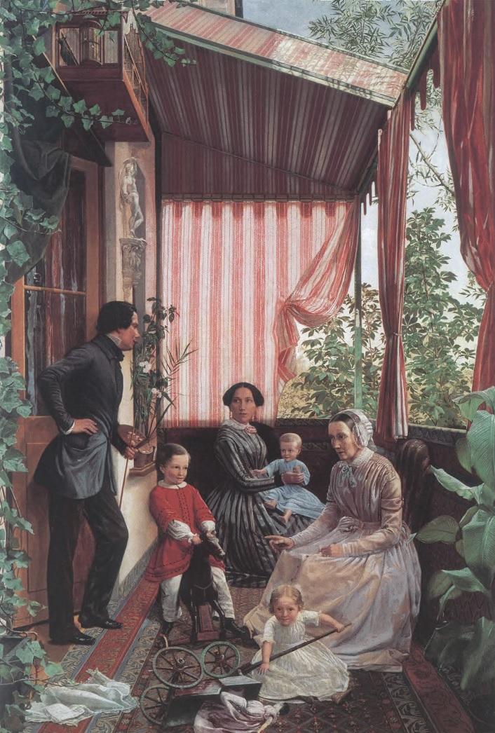 ФЕДОР СЛАВЯНСКИЙ. Семейная картина (На балконе). 1851. Холст, масло. 102,5 х 68,5 см. Государственный Русский музей