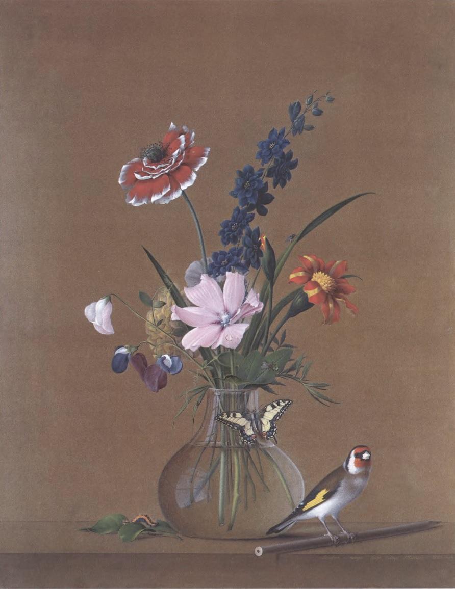 ФЕДОР ТОЛСТОЙ. Букет цветов, бабочка и птичка. 1820. Коричневая бумага, акварель, белила. 49,8 х 39,1 см Государственный Русский музей