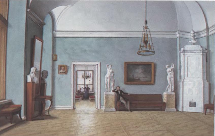 ФЕДОР ТОЛСТОЙ. В комнатах. Не ранее 1832 Бумага, акварель. 213 х 331 см. Государственная Третьяковская галерея