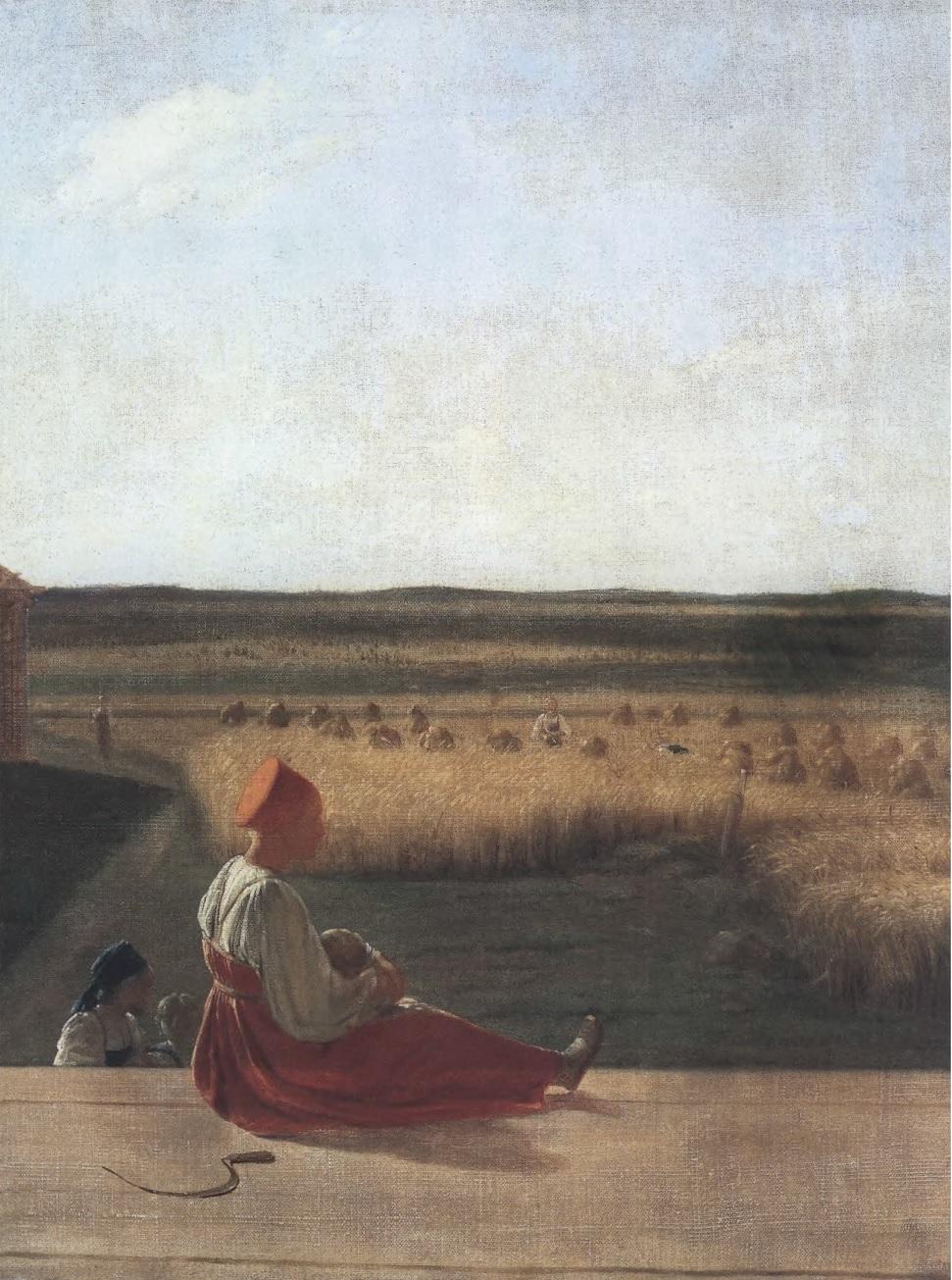 АЛЕКСЕЙ ВЕНЕЦИАНОВ. На жатве. Лето. Середина 1820-х. Холст, масло. 60 х 48,3 см. Государственная Третьяковская галерея