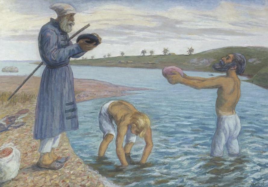 НИКОЛАЙ ЧЕРНЫШЕВ. Дионисий с сыновьями на Бородавском озере. Холст, масло Частное собрание
