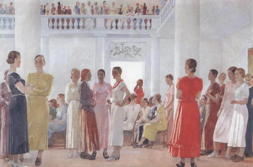 АЛЕКСАНДР ДЕЙНЕКА. На женском собрании. 1937. Холст, масло. 170 х 265 см. Челябинская областная картинная галерея