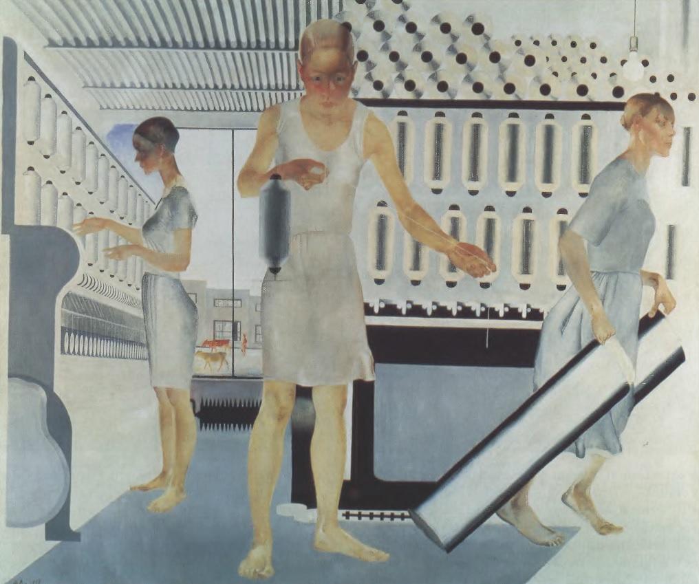 АЛЕКСАНДР ДЕЙНЕКА. Текстильщицы. 1927 Холст, масло. Музей на крейсере «Аврора», Санкт-Петербург