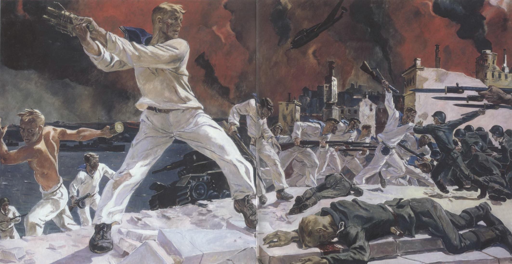 АЛЕКСАНДР ДЕЙНЕКА. Оборона Севастополя. 1942 Холст, масло. 200 х 400 см Государственный Русский музей