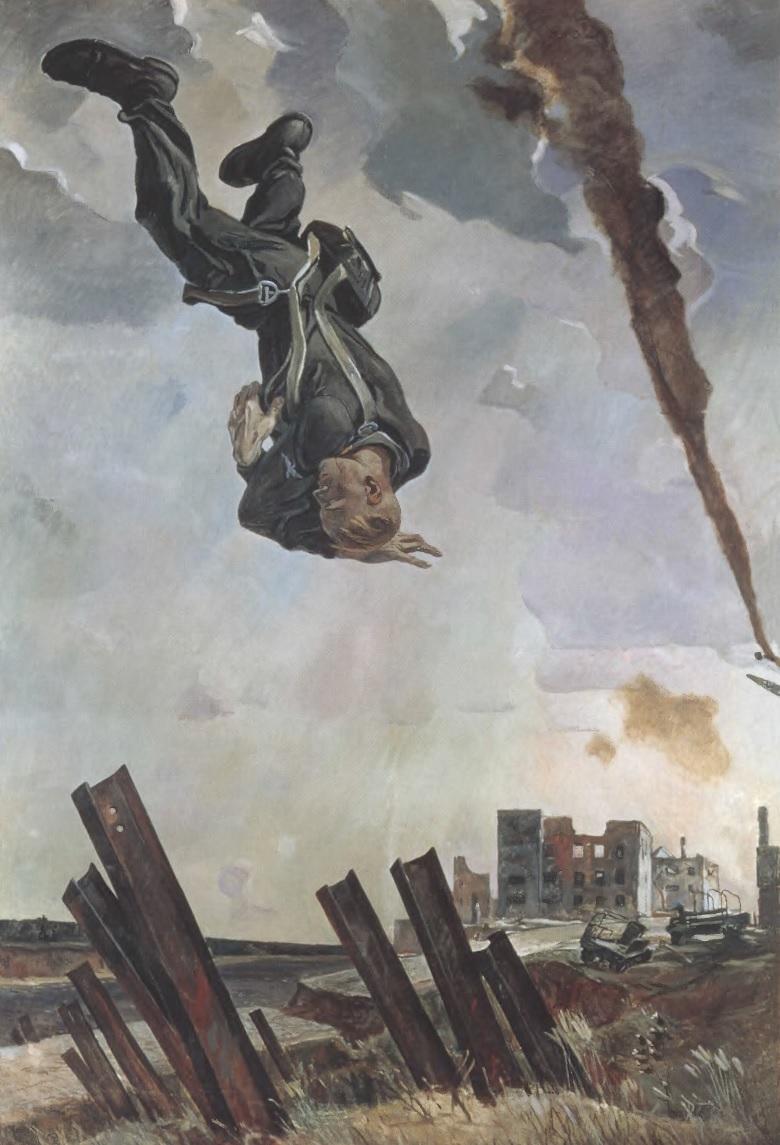 АЛЕКСАНДР ДЕЙНЕКА. Сбитый ас. 1943. Холст, масло. 283 х 188 см. Музей на крейсере «Аврора», Санкт-Петербург