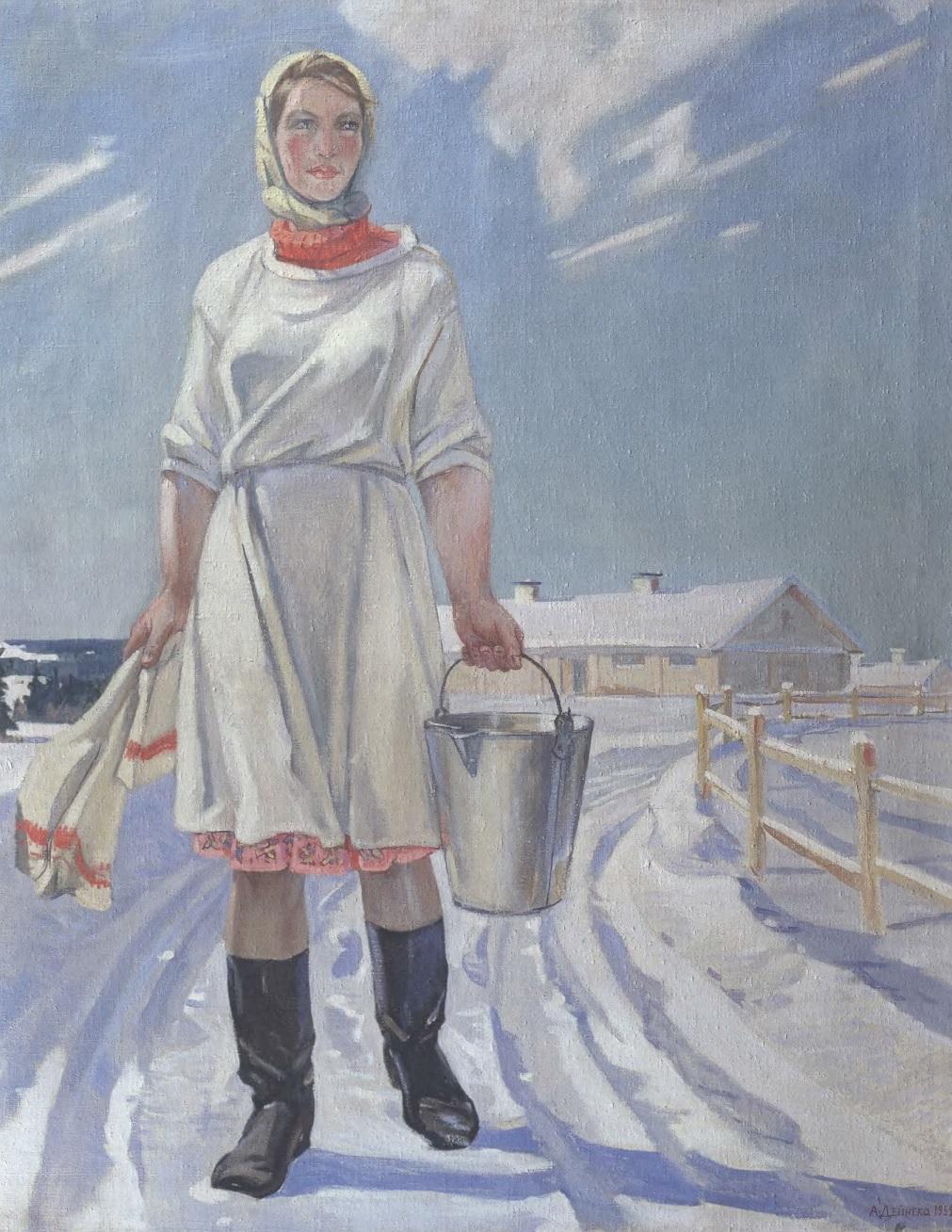 АЛЕКСАНДР ДЕЙНЕКА. Доярка. 1959. Холст, масло. 163 х 132 см. Иркутский областной художественный музей