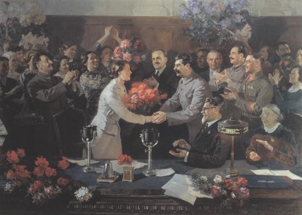 ВАСИЛИЙ ЕФАНОВ. Незабываемая встреча. 1937. Холст, масло. Государственная Третьяковская галерея