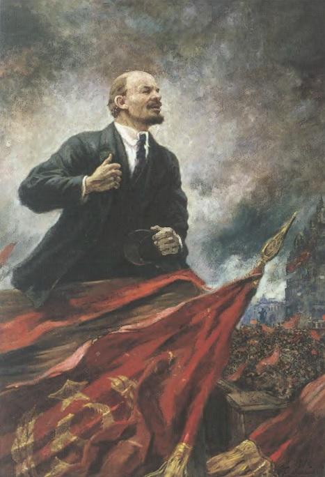 АЛЕКСАНДР ГЕРАСИМОВ Ленин на трибуне. 1930 Холст, масло. 288 х 177 см. Центральный музей В.И. Ленина, Москва