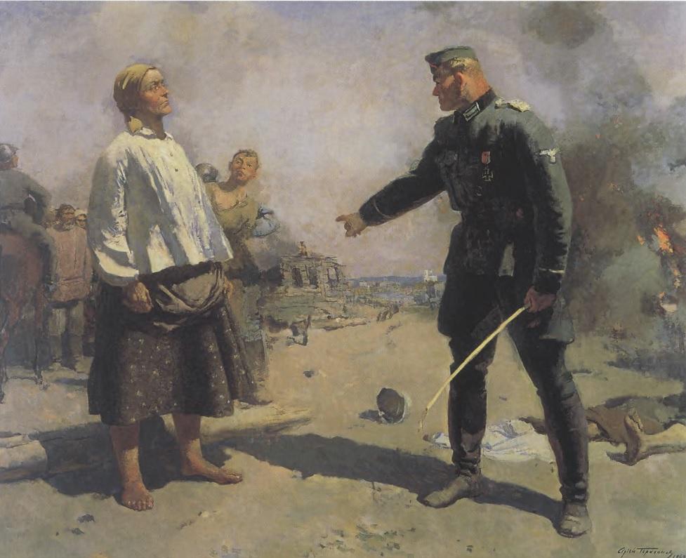 СЕРГЕЙ ГЕРАСИМОВ. Мать партизана. 1943. Холст, масло. 184 х 232 см. Государственная Третьяковская галерея
