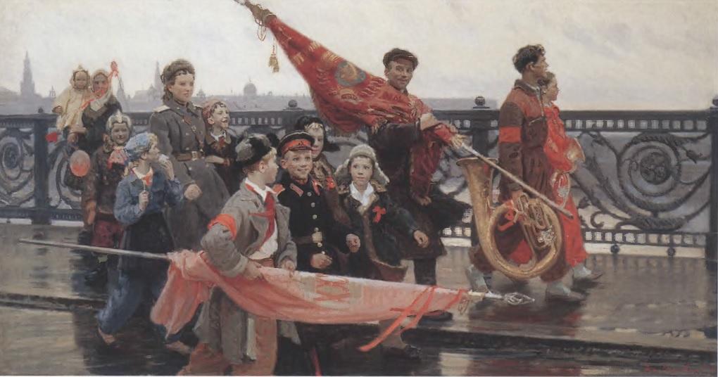 ДМИТРИЙ МОЧАЛЬСКИЙ. После демонстрации. Они видели Сталина. 1949. Холст, масло. Государственная Третьяковская галерея